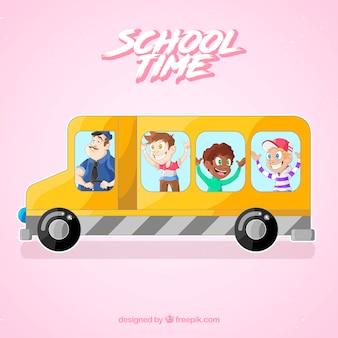 School bus background with children