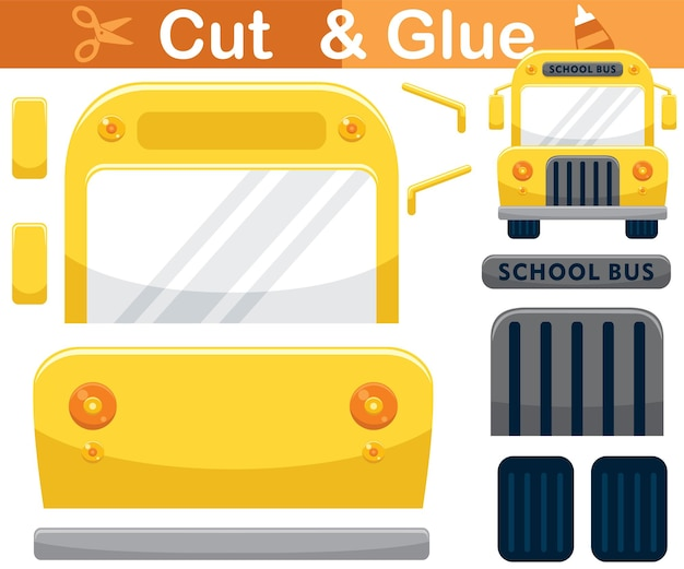 School bus cartoon. education paper game for children. cutout and gluing
