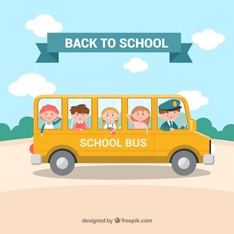 Scuolabus e bambini con design piatto