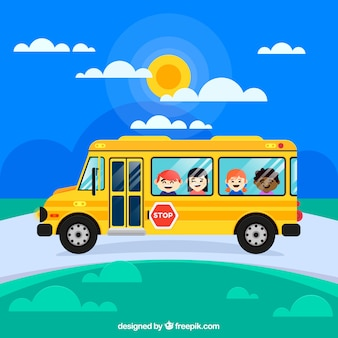 School bus and children with flat design
