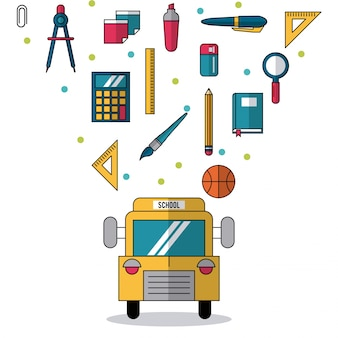 School bus and colorful smaller icons of elements of school