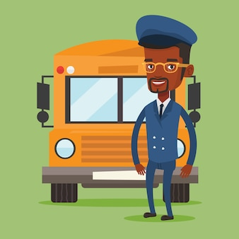 School bus driver illustration.