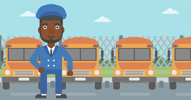 School bus driver vector illustration.