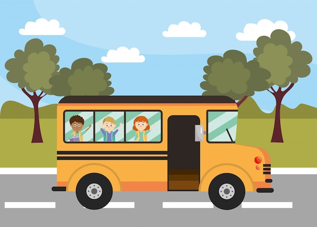 School bus education vehicle with students