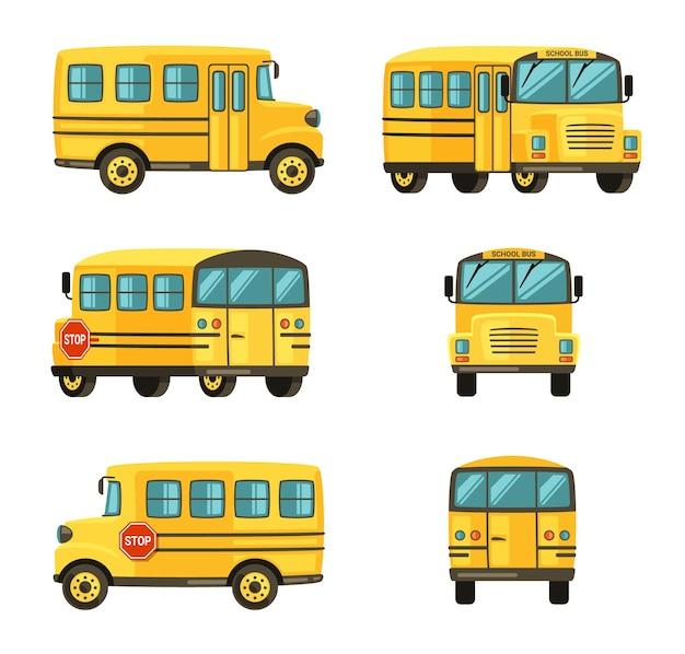 さまざまな角度からのスクールバス。学童を輸送するための黄色い車両