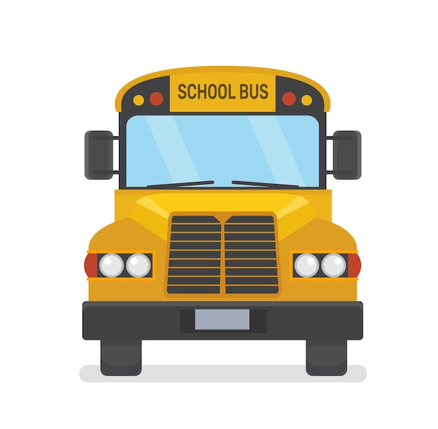 School bus front view flat illustration on white background