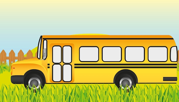 School bus grass background vector illustration