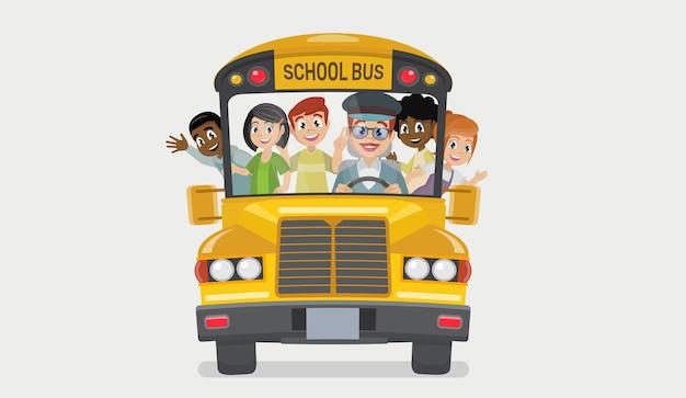 School bus and happy children