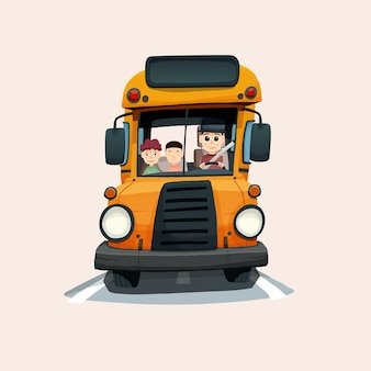 School bus illustration in hand drawn