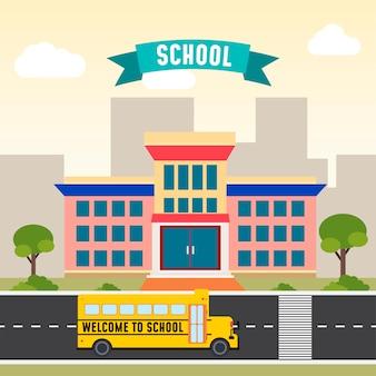 School bus in front of the school