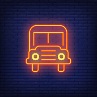 School bus neon sign. Modern orange school bus with headlights.