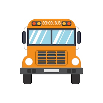 Школьный автобус на белом