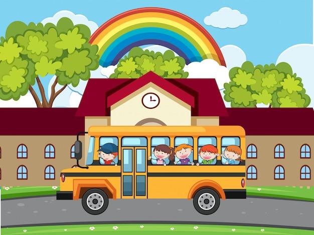 School bus parking in front of school
