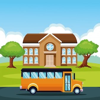 School bus passing by cartoon