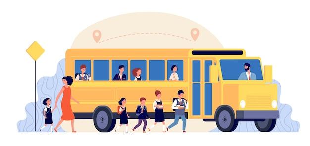スクールバス。生徒の黄色い輸送。子供たちは学習に戻り、大学への道を歩みます。女の子の男の子はベクトルの概念を勉強しに行きます。バス通学交通、学生の子供は学校のイラストに行きます