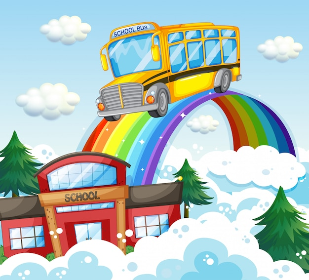 School bus riding over the rainbow