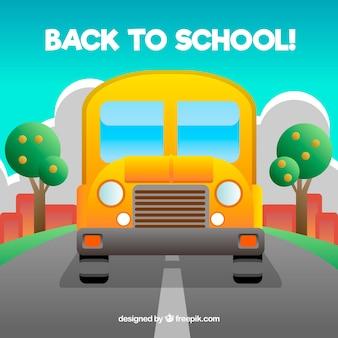 Школьный автобус, дорога и деревья с плоским дизайном