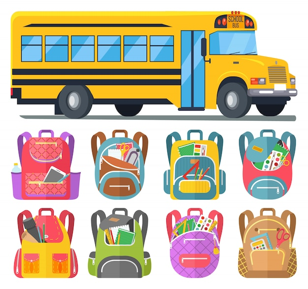 School bus and schoolbags with stationery or books
