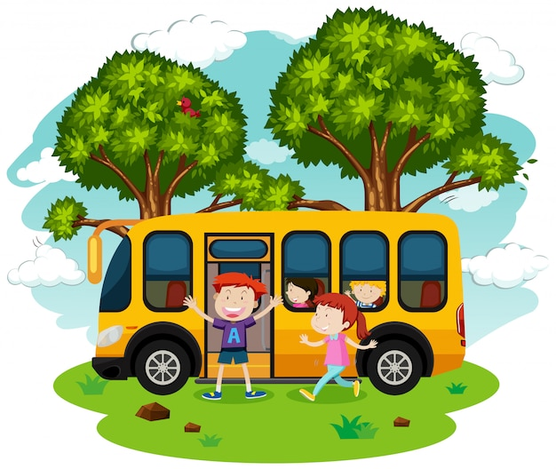 A school bus and students
