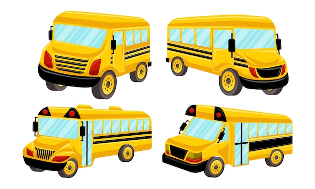 School bus template vector isolated design set