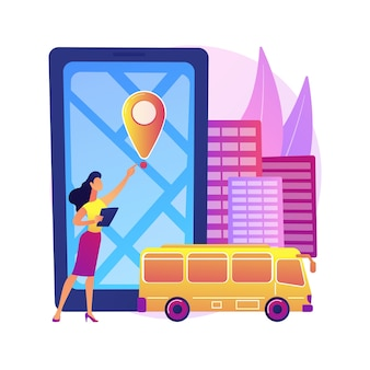 School bus tracking system abstract concept  illustration. bus tracking application, school smart transportation system, gps location tracker, mobile navigation software .