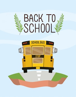 School bus transport in the terrain Free Vector