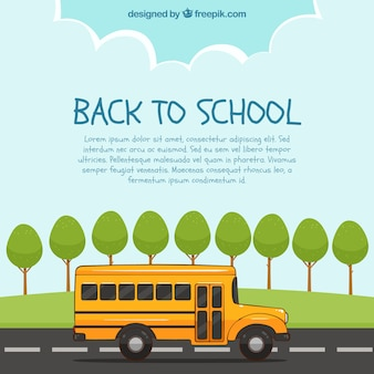School bus and trees with flat design
