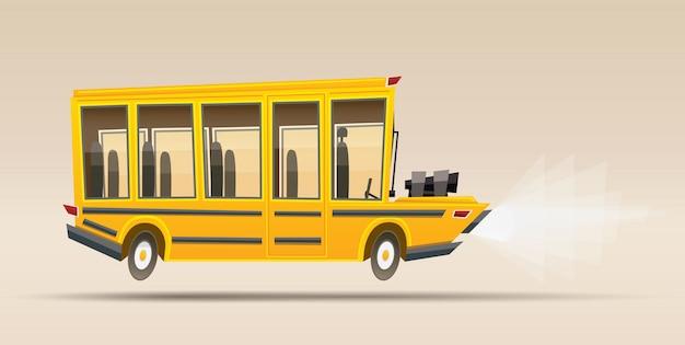 スクールバス。ベクトルイラスト。ビッグエンジン搭載の漫画スタイルのレーシングバス。