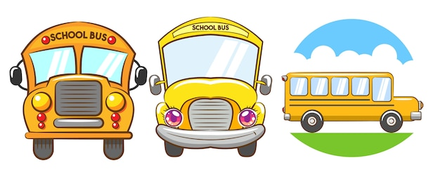 School bus vector set clipart design