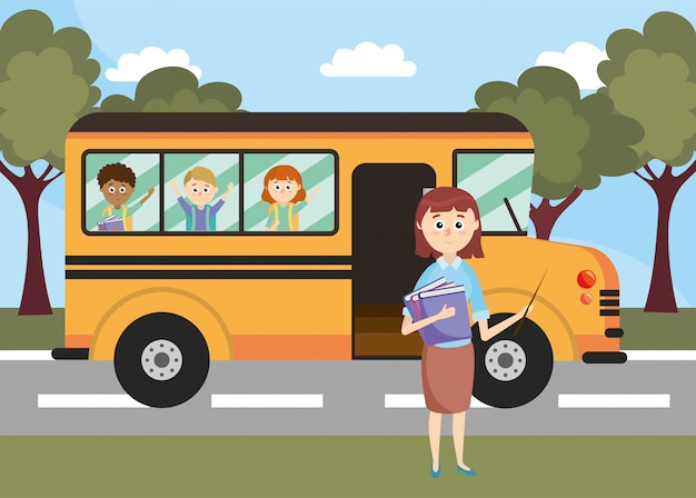 School bus vehicle with teacher and students