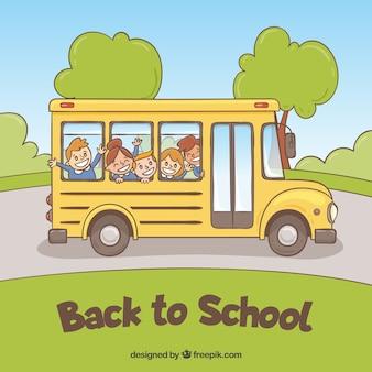 School bus with happy children