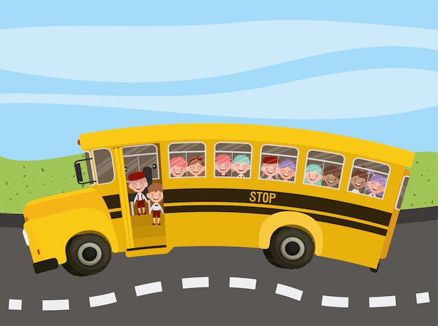 School bus with kids in the road