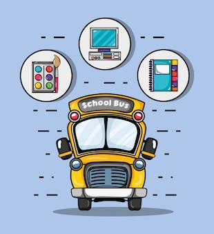 School bus with school utensils icon