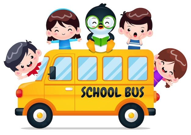 School bus with smart penguin and kids