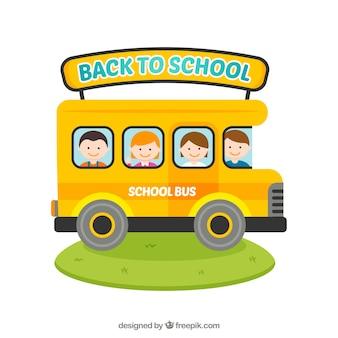 웃는 학생들과 스쿨 버스