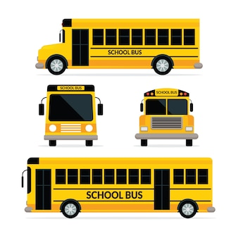 School bus yellow colour with two type, front and side view