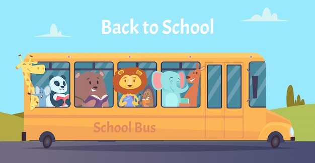 Школьный автобус. персонажи зоопарка животных обратно в школу на концепции обучения желтый автобус