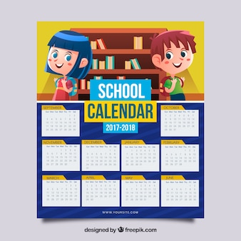 School calendar 2017-2018 with children