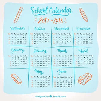 School calendar 2017-2018 with drawings