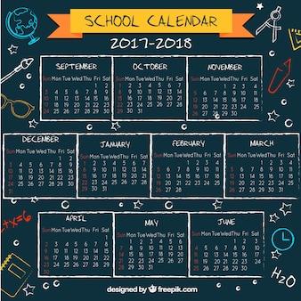 Calendario scolastico sulla lavagna con stile divertente