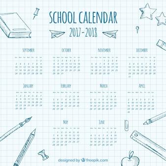 School calendar on a notebook sheet