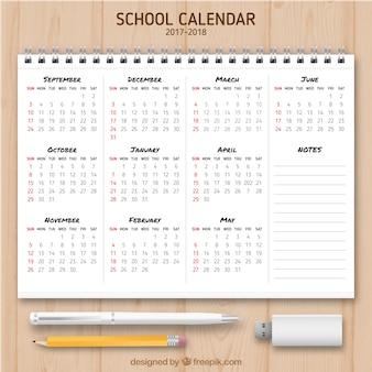 School calendar in a notebook