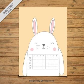 Calendario scolastico a forma di un coniglio