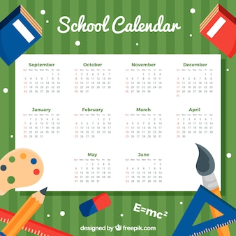 School calendar with academic style