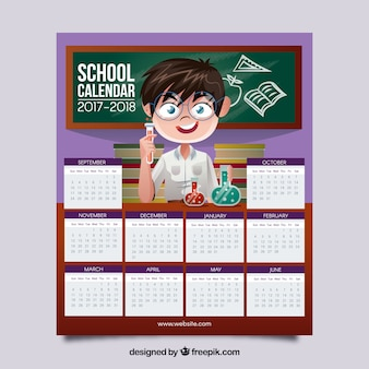 School calendar with boy and in the laboratory