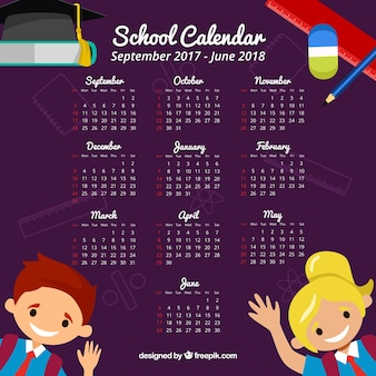 School calendar with children greeting