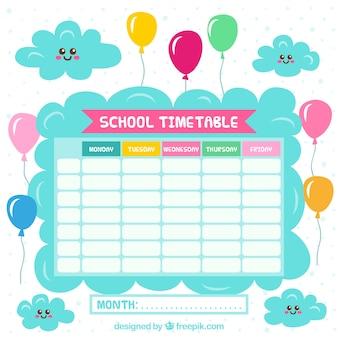 雲と風船のある学校のカレンダー