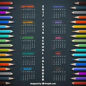 School calendar with crayons
