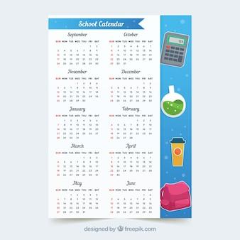Школьный календарь с симпатичными школьными элементами