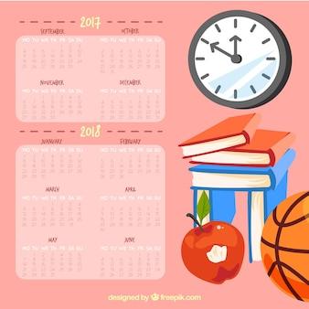 Calendario scolastico con diversi elementi della scuola